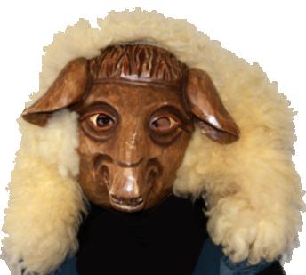 Maske eines Schaafes der Narrenzunft Schaflingen aus Worblingen.
