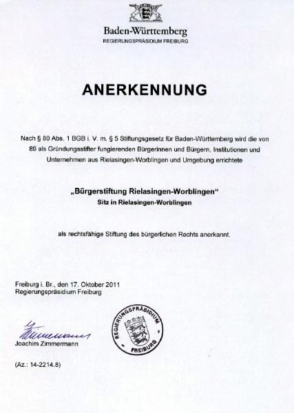 Anerkennung der Bürgerstiftung Rielasingen-Worblingen durch das Regierungspräsidium Freiburg