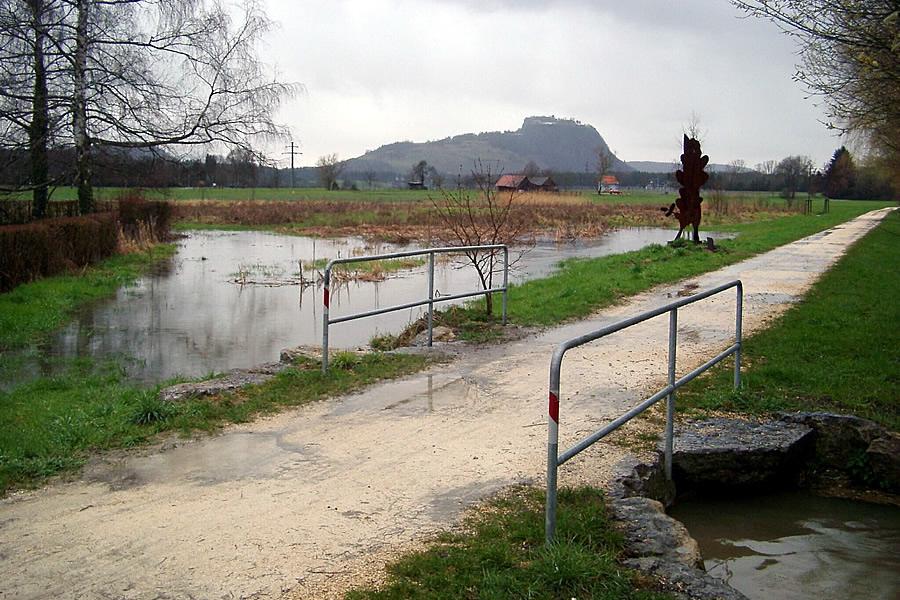 Hochwasser beim Skulpturenweg an der Aach.
