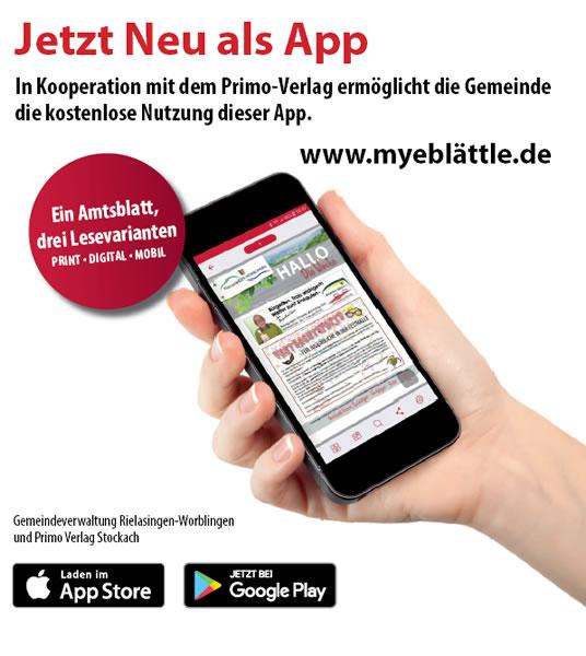 Werbeanzeige für die neue App von myeblättle.