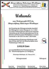 Urkunde Förderprojekt 2013