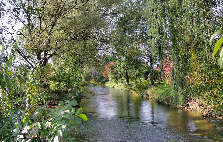 Die Aach beim Naturbad Aachtal in Worblingen.