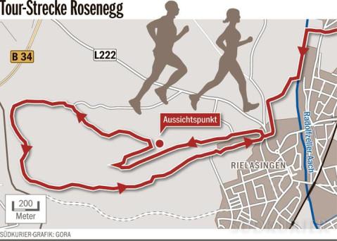 Plan der Wanderstrecke Rosenegg. Quelle: Südkurier