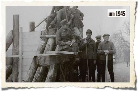 Noch kurz vor dem Eintreffen der französischen Truppen errichtete der Volkssturm diese Panzersperre am Ortsausgang in der Höristraße Richtung Rielasingen. BILD: PRIVAT