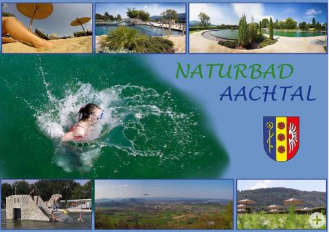 Postkarte mit Motiven vom Naturbad Aachtal.