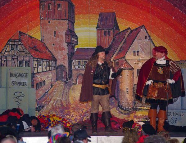 Junker Hans (r) und sein Burgvogt Spindler (l)