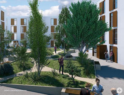 Bis zu 156 Wohnungen sollen auf dem ehemaligen Schiesser-Gelände gebaut werden. An der Singener Straße gruppieren sich die Gebäude um zentrale Höfe und Plätze. Bildmontage: tütüncü consulting/architecture