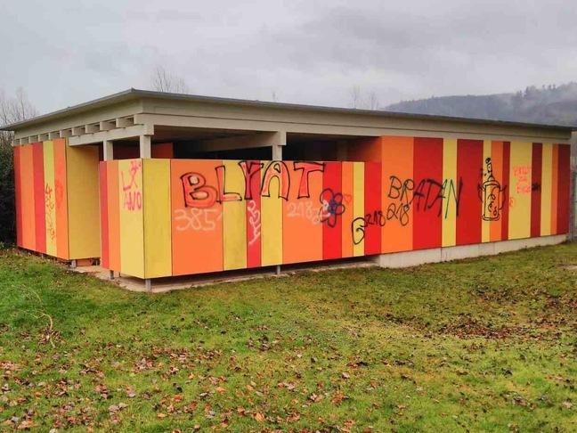 Das DLRG-Gebäude im Worblinger Naturbad wurde großflächig von Unbekannten besprüht. swb-Bild: of