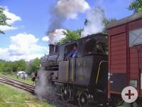 Historische Dampflok beim Museumsbahnfest in Rielasingen. Bild: Rudolph