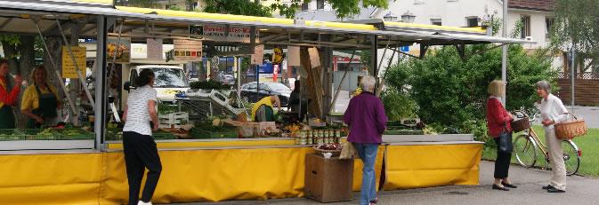 Banner Einzelhandel - Bild vom Wochenmarkt Rielasingen.