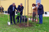 Pflanzung einer Eiche zum Gedenken an die Partnerschaft vor der Ten-Brink-Schule. Die Eiche ist ein Geschenk aus Nogent-sur-Seine.