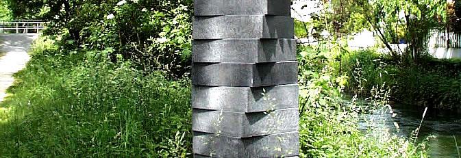 Banner Skulpturenweg - Ausschnitt der Skulptur Drehung von Helmut Grimm.