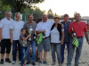 Bürgermeister Ralf Baumert (links) und Andrea Jagode, Vorsitzende des Freundeskreis Nogent-sur-Seine (2.v.l.), gratulierten unterstützt von Christiane Olszewski und Turnierleiter Bertie Friese (2.v.r) Raffa Tripodi, Rainer Zimmermann und Laurent Saury (re