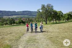 Vier Radfahrerinnen auf einem Feldweg bei Worblingen