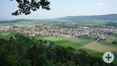 Blick vom Aussichtspunkt Rosenegg auf Rielasingen-Worblingen