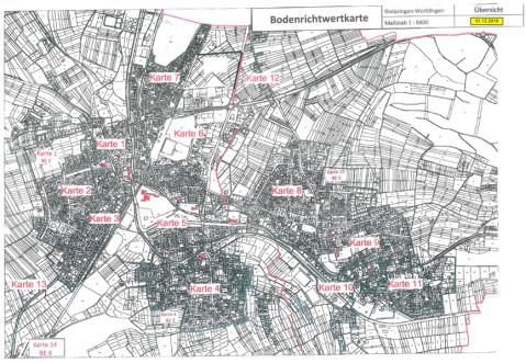 Uebersicht der Bodenrichtwertkarten von Rielasingen-Worblingen