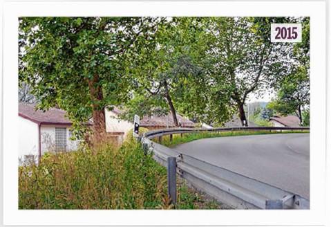 Grüne Kurve: So sieht die Stelle an der Höristraße in Worblingen, an der während der letzten Kriegstage Ende April 1945 die Panzersperre errichtet wurde, heute aus. BILD: INGEBORG MEIER