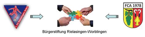 Logos FC Rielasingen-Arlen, Bürgerstiftung Rielasingen-Worblingen und FC Auggen.
