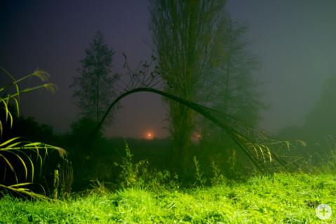 Die Stahlbrücke über die Aach von Louis Perrin bei Nacht beleuchtet. Foto: Florian Seiler