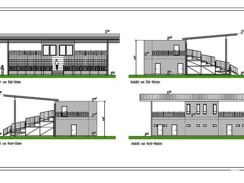 Entwürfe für die Tribüne des FC Rielasingen-Arlen. swb-Bild: Rielasingen-Worblingen