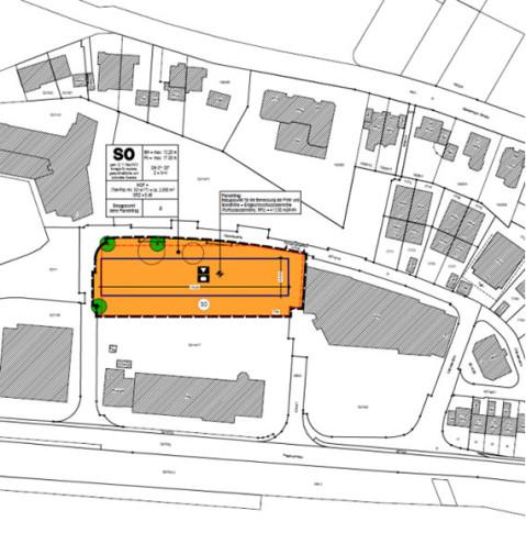 Lageplan Bebauungsplan Gänseweide 3. Änderung - Entwurf.