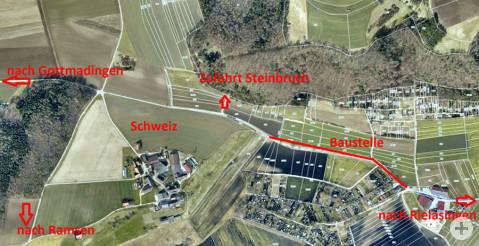 Plan zur Sperrung des Verbindungsweges von Rielasingen nach Gottmadingen.
