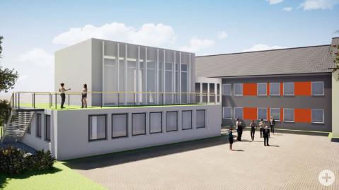 Um ein Bürgerbüro mit zusätzlichen Arbeitsplätze zu schaffen, soll der Ratssaal am Rielasinger Rathaus einen Fuß bekommen, so erste Entwürfe. swb-Bild: Ortsbauamt