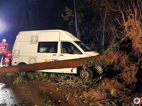 Die Feuerwehr in Rielasingen-Worblingen musste Autos bergen, die gegen umstürzende Bäume gefahren waren. swb-Bild: ffw rielasigen/Blum